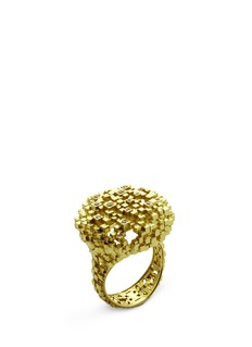 Jo Hayes Ward 'Diamond Cushion' 18k yellow gold structural ring