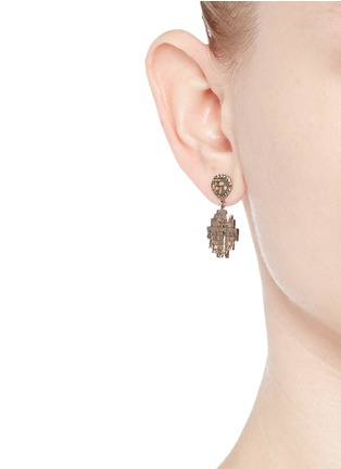 Figure View - Click To Enlarge - Jo Hayes Ward - 'Oval Stratus Rain Drop' diamond 18k white gold earrings