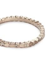 'Single Hex' diamond 18k white gold ring