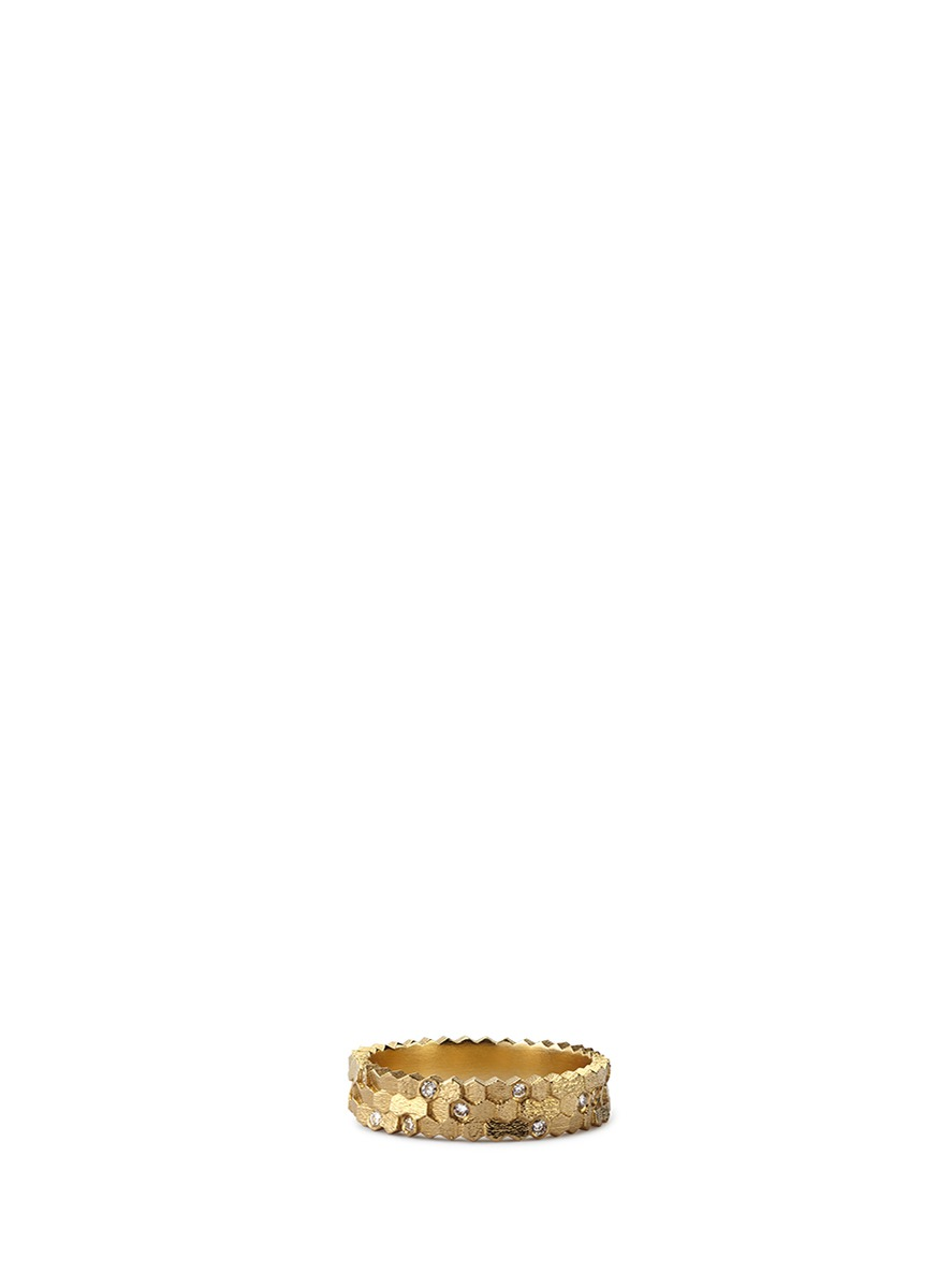 Triple Hex diamond 18k yellow gold ring by Jo Hayes Ward