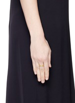 'Triple Hex' diamond 18k yellow gold ring
