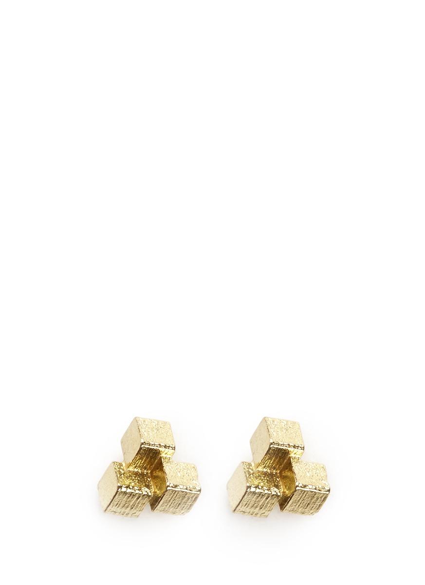 3 Cube Grid 18k yellow gold stud earrings by Jo Hayes Ward