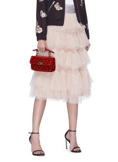 Valentino 'Rockstud Spike' small quilted velvet crossbody bag