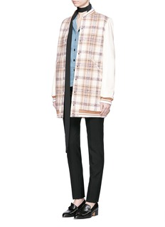 CHLOÉ Plaid check wool bomber coat