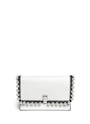 Main View - Click To Enlarge - Proenza Schouler - 'Lunch Bag' small metallic pompom crochet leather clutch