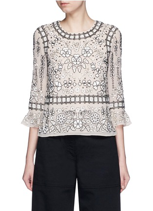 Main View - Click To Enlarge - Needle & Thread - 'Antique Lace' sequin bead floral embellished top