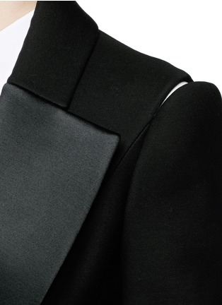 Detail View - Click To Enlarge - DICE KAYEK - Made-to-Order<br/><br/>Open shoulder ruffle peplum tuxedo jacket