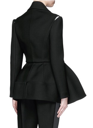 Back View - Click To Enlarge - DICE KAYEK - Made-to-Order<br/><br/>Open shoulder ruffle peplum tuxedo jacket