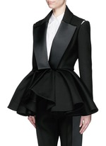 Made-to-Order<br/><br/>Open shoulder ruffle peplum tuxedo jacket
