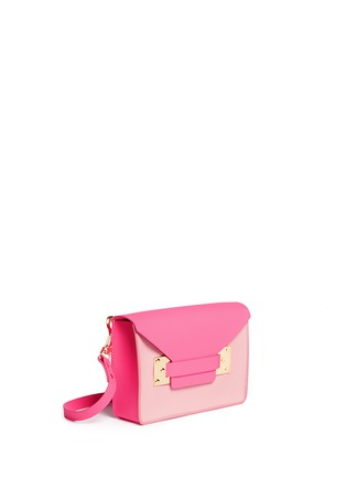 Front View - Click To Enlarge - Sophie Hulme - 'Milner Mini' colourblock leather envelope crossbody bag