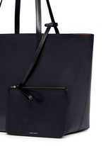 Large leather tote with contrast lining