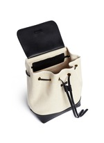 Mini leather canvas combo backpack