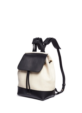 Front View - Click To Enlarge - Mansur Gavriel - Mini leather canvas combo backpack