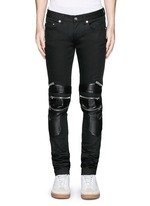 Leather knee guard motocross jeans