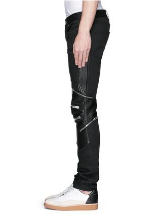 Detail View - Click To Enlarge - SAINT LAURENT - Leather knee guard motocross jeans