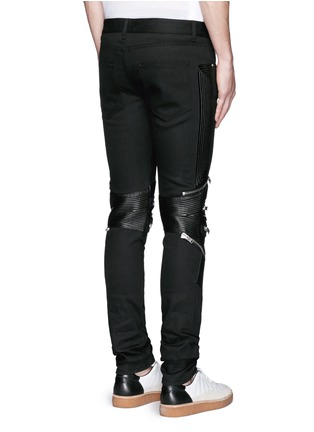 Back View - Click To Enlarge - Saint Laurent - Leather knee guard motocross jeans