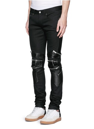 Front View - Click To Enlarge - Saint Laurent - Leather knee guard motocross jeans