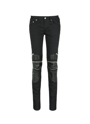 Main View - Click To Enlarge - Saint Laurent - Leather knee guard motocross jeans
