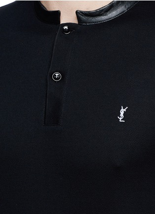 Detail View - Click To Enlarge - SAINT LAURENT - Leather band collar cotton piqué polo shirt
