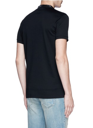 Back View - Click To Enlarge - SAINT LAURENT - Leather band collar cotton piqué polo shirt