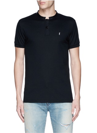 Main View - Click To Enlarge - SAINT LAURENT - Leather band collar cotton piqué polo shirt