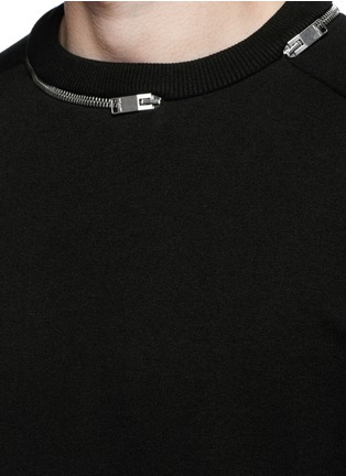 Detail View - Click To Enlarge - SAINT LAURENT - Zip crew neck sweatshirt
