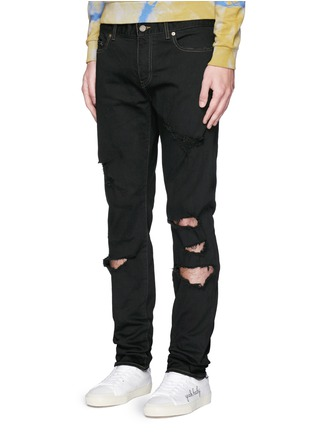 Front View - Click To Enlarge - SAINT LAURENT - Distressed skinny jeans