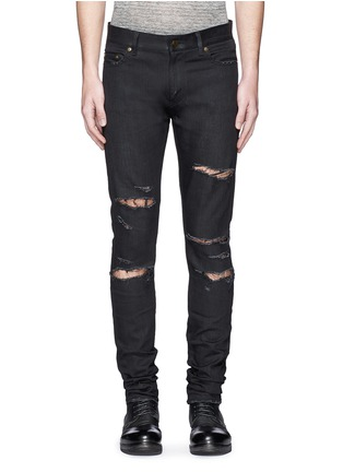 Detail View - Click To Enlarge - Saint Laurent - Distressed skinny jeans