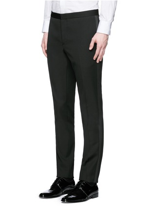 Detail View - Click To Enlarge - Saint Laurent - Satin peak lapel virgin wool tuxedo suit