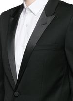 Satin peak lapel virgin wool tuxedo suit