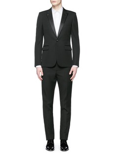 Saint LaurentSatin peak lapel virgin wool tuxedo suit