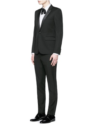 Figure View - Click To Enlarge - Saint Laurent - Satin peak lapel virgin wool tuxedo suit