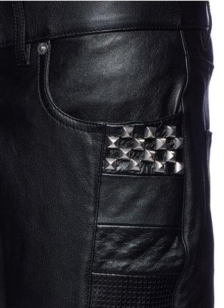 Detail View - Click To Enlarge - Saint Laurent - Textured panel stud leather pants