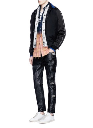 Figure View - Click To Enlarge - SAINT LAURENT - Textured panel stud leather pants