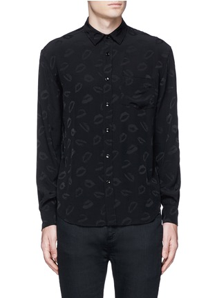 Main View - Click To Enlarge - Saint Laurent - Lip jacquard crepe shirt