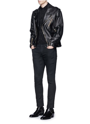 Figure View - Click To Enlarge - Saint Laurent - Lip jacquard crepe shirt