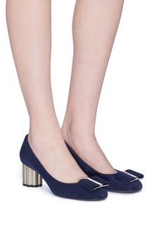 Salvatore Ferragamo 'Capua' metallic flower heel suede pumps