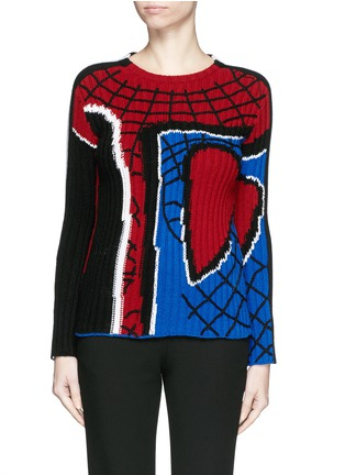 Main View - Click To Enlarge - Valentino - 'Super-H' Spiderman intarsia wool sweater