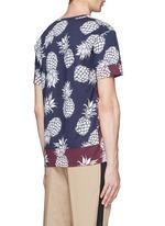 Pineapple print contrast hem T-shirt