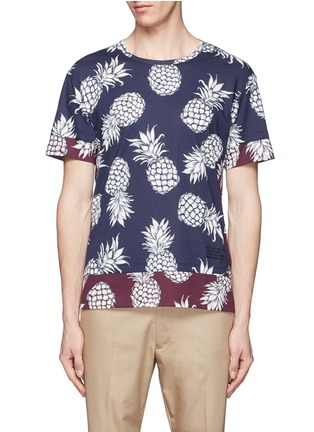 Main View - Click To Enlarge - Valentino - Pineapple print contrast hem T-shirt