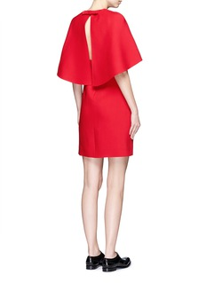 VALENTINOBow cape open back crepe couture dress