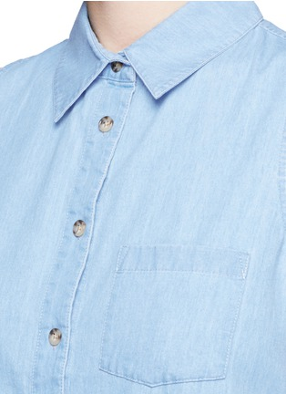 Detail View - Click To Enlarge - Equipment - 'Mina Tie Front' sleeveless chambray shirt