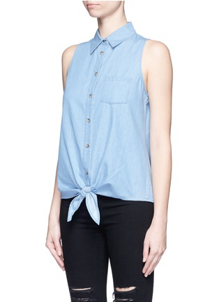 Front View - Click To Enlarge - Equipment - 'Mina Tie Front' sleeveless chambray shirt