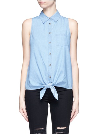 Main View - Click To Enlarge - Equipment - 'Mina Tie Front' sleeveless chambray shirt