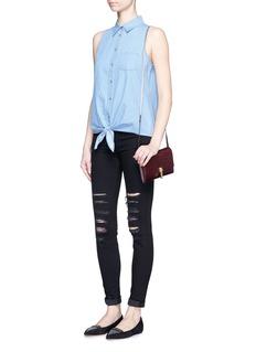 EQUIPMENT'Mina Tie Front' sleeveless chambray shirt