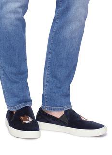 BING XU Tribeca法国斗牛犬刺绣天鹅绒便鞋