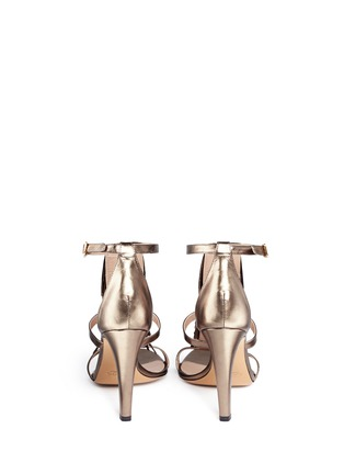 Back View - Click To Enlarge - Chloé - Fringe metallic leather sandals