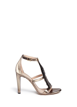 Main View - Click To Enlarge - Chloé - Fringe metallic leather sandals