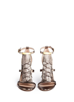 Figure View - Click To Enlarge - Chloé - Fringe metallic leather sandals