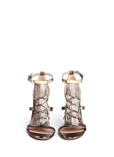 CHLOÉ Fringe metallic leather sandals